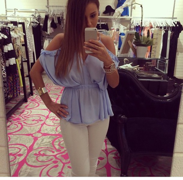 blouse blue shirt white top gold fashion fame top