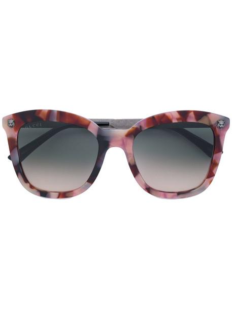 Gucci Eyewear - tortoiseshell-effect cat-eye sunglasses - women - Acetate/metal - 52, Brown, Acetate/metal