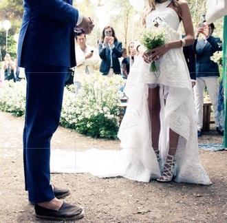 dress white dress white formal dress halter-neck dress