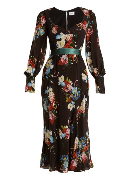 Erdem dress midi dress midi silk print black