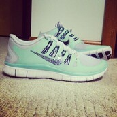 shoes,nike running shoes,jewels,mint green nike free runs