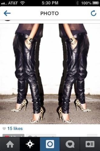 pants leather pants black skinny pants black