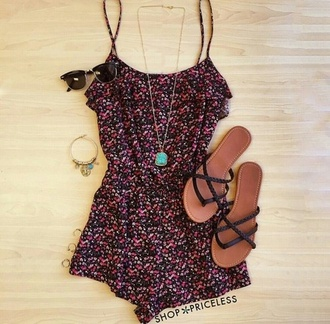 romper flowers dress sandals shoes black sunglasses necklace jewelry earrings flowered shorts pom pom shorts
