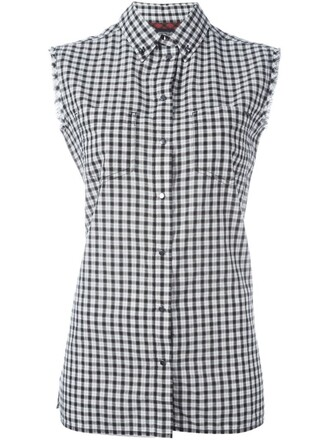shirt checked shirt sleeveless black top