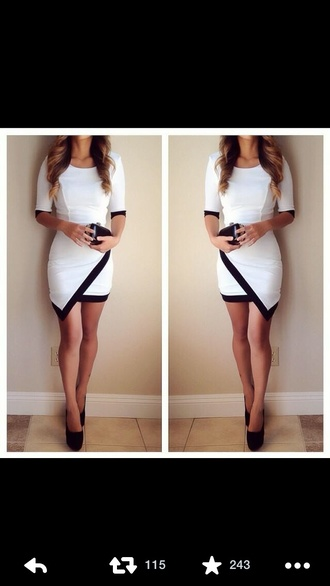 dress homecoming dress black white dress pumps shoes cute dress cute bodycon dress