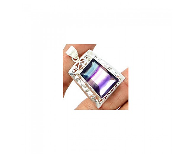 Amazing 925 sterling silver Faceted Multi Fluorite Pendant