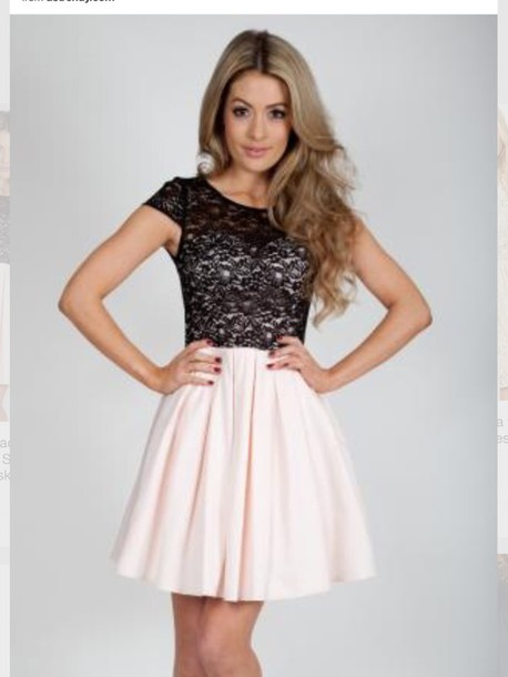 47b5c57dbbc4 dress, black and white dress, black lace top, skater dress - Wheretoget