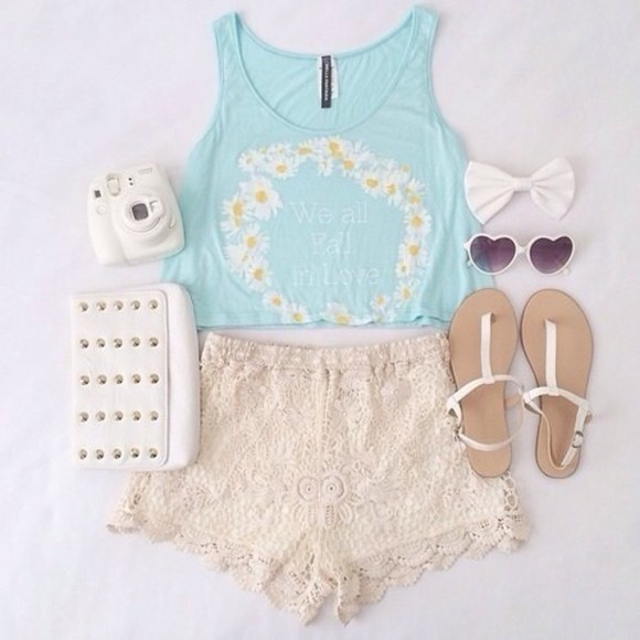 lace shorts blue crop top cream lace shorts white purse white sunglasses polaroid camera white sandals tank top shorts
