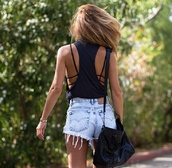 High waisted shorts,denim shorts,vintage,distressed high waisted jeans,cute outfits,cute shorts,lovely pepa,summer shorts,summer outfits,black,tumblr outfit,tumblr,blouse,shirt,top,bra,tan,style,bralette,black bralette,cagged,caged bralette,summer,trendy,brunette