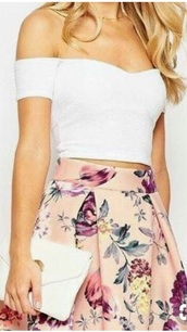 dress,two-piece,white top,pink skirt,off the shoulder