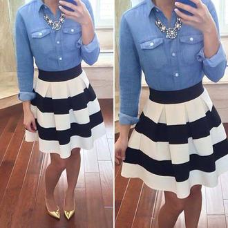skirt skirt black white stripes black white pattern skater skirt cute mini skirt flare stripes black and white