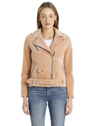 jacket biker jacket velvet pink