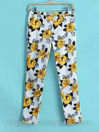 White Floral Print Fashion Pant - HandpickLook.com