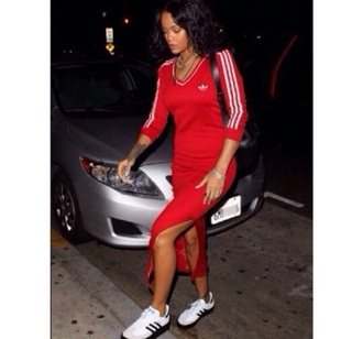 dress rihanna red dress addidas shirt