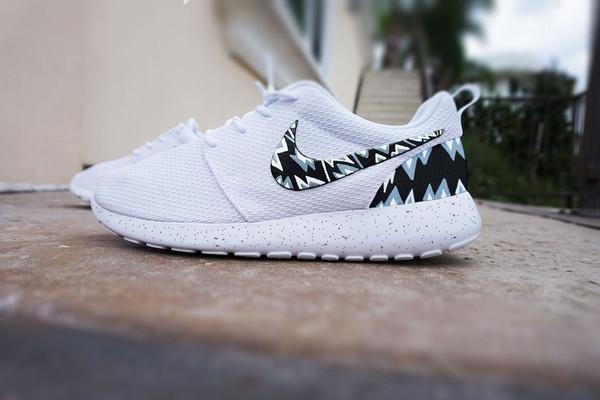 Custom Nike Roshe Run shoes, White with grey and black ...