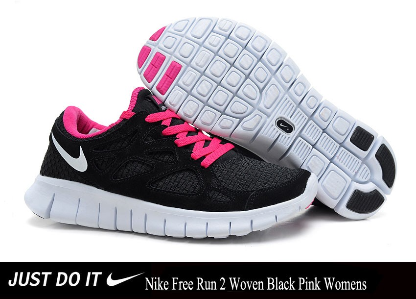 NIKE FREE RUN 2 WOVEN BLACK PINK WOMENS 3.0 v5