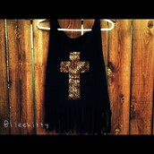 tank top,black,leopard print,cross,tassel