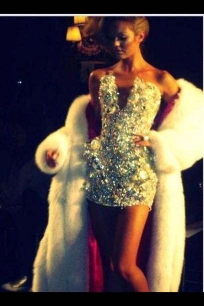 Dress Sequin Dress Victoria S Secret Silver Glitter