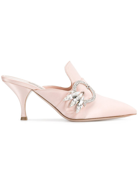 women mules leather cotton purple pink satin shoes