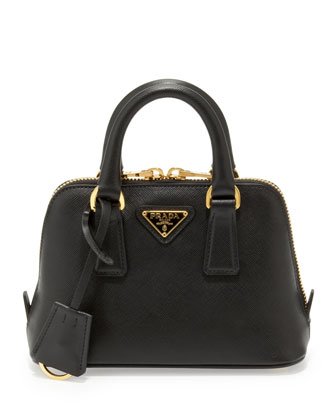 Prada Saffiano Mini Promenade Crossbody Bag, Black - Neiman Marcus