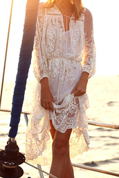 swimwear,dress,lace dress,lace,white lace dress,urban,girl,girly,women,blouse,event,summer dress,fashion,style,stylish,crop,cropped,boho,top,on point clothing,beach dress,beach,white,crochet dress,white blouse,white top,sexy top,summer,see through,tumblr clothes,clothes,cover up,gossip girl,summer outfits,summer trendy,trendy,sexy,tumblr outfit,date outfit,sexy party dresses,blogger,events,romantic summer dress
