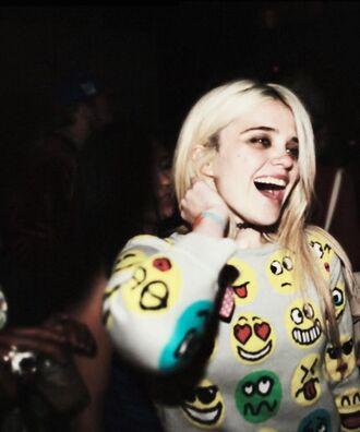 sweater emoji print smiley tumblr pinterest top shirt sky ferreira