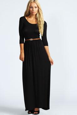 Sophia Scoop Neck Elasticated Waist Maxi Dress at boohoo.com