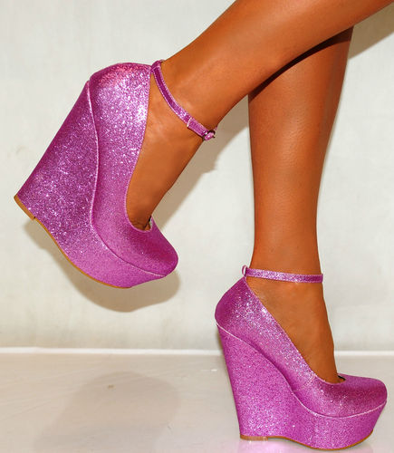 WOMENS PURPLE PINK GLITTER WEDGES COURT PLATFORMS HIGH HEELS SIZE UK 4 5 6 SHOES | Amazing Shoes UK