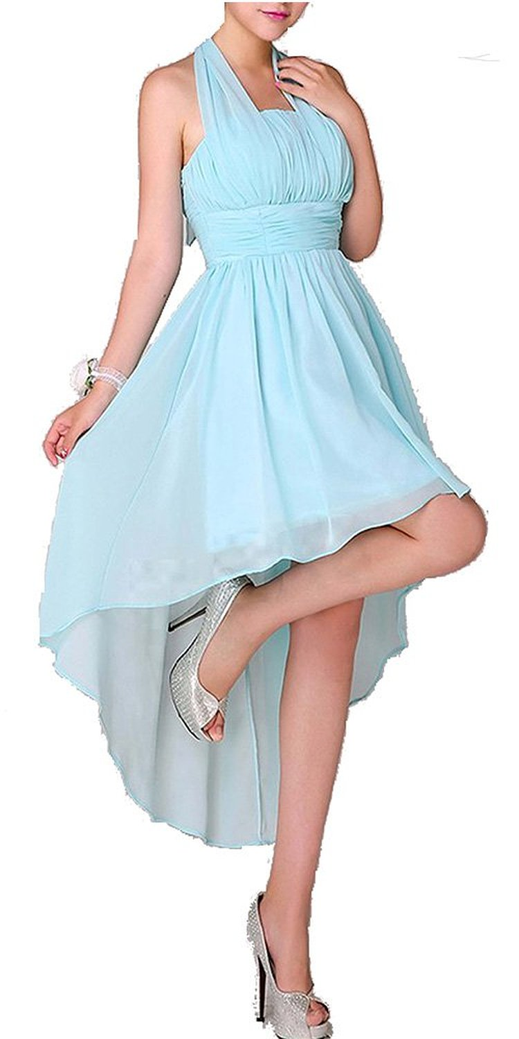 Amazon.com: Teal Unadorned Hatler High Low Chiffon Prom Dress: Clothing
