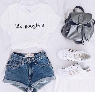 shirt google it idk white t-shirt short sleeve jeans shorts short girl hot pants
