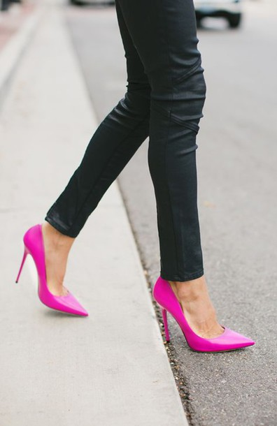 shoes high heels glossy pink high heels