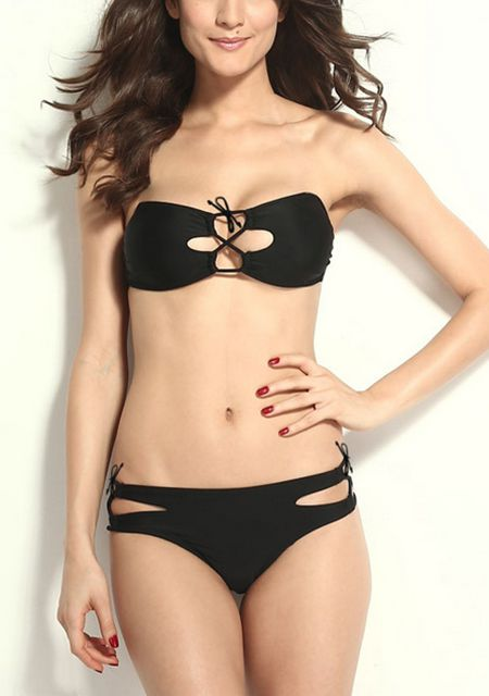 Women's hollow out strapless padded solid color fission bikini swimsuit online