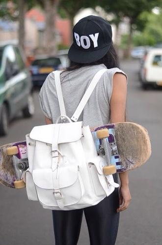 hat flatbill fly skateboard leather backpack skater bag white backpack swag snapback grunge