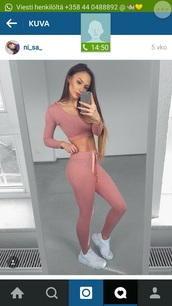 pants,pink,leggings,nike,white,blouse,crop,cropped