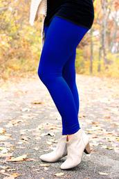 pants,fleece leggings,leggings,fleece,royal blue,blue,winter leggings,high waisted leggings
