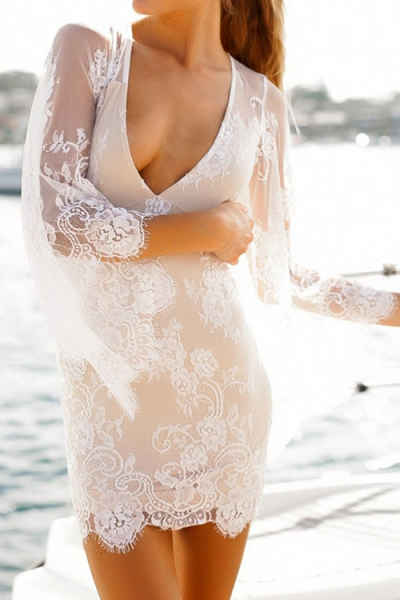 Plunging Neck See-Through Lace 3/4 Sleeve Dress