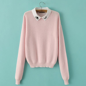 baby pink cropped sweater eyelash winter sweater loose sweater cool outfit women pullover cute jumper