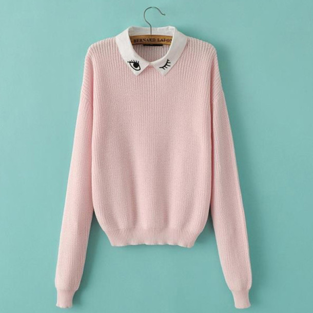 Sweater: cropped sweater, light pink, eyelashes, winter sweater ...