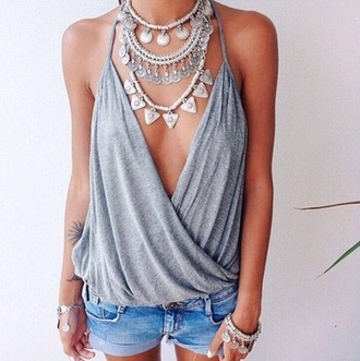 top shirt tank top grey grey t-shirt twisted indie bohemian jelwry jewelry tumblr chanel hm cute summer beach tumblr outfit