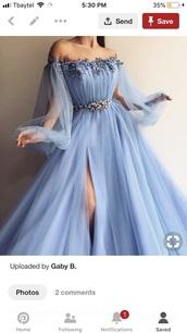 dress,blue,beading,strapless,tulle dress,prom dress,long sleeves