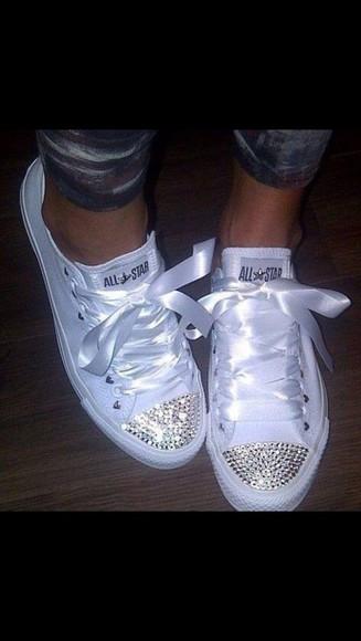 converse white glitter shoes