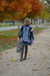 something delightful,blogger,shoes,bag,jewels,fall outfits,thigh high boots,grey bag,grey boots