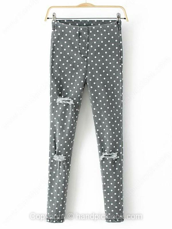 jeans skinny jeans denim grey jeans grey grey jeans polka dot jeans polka dots gray and white