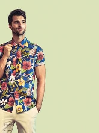 shirt button up mens hipster menswear tropical floral shirt
