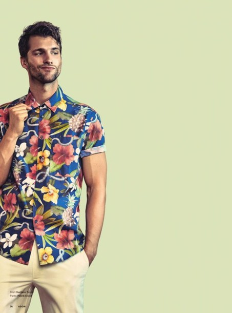 shirt button up mens hipster menswear tropical floral shirt
