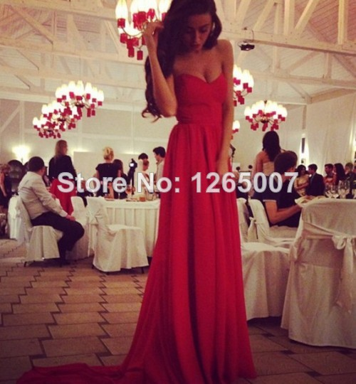 Aliexpress.com : Buy Hot Sweetheart Long Train Red Chiffon A Line Evening Dresses New Fashion Formal Simple Dresses from Reliable dress for less prom dresses suppliers on SFBridal