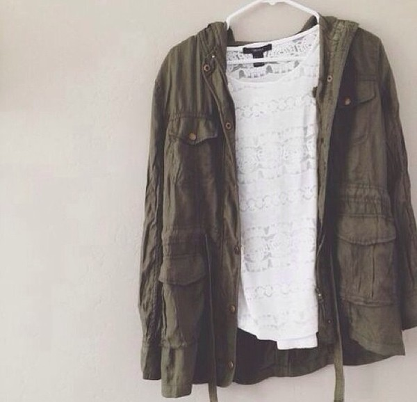 jacket green jacket green white t-shirt t-shirt