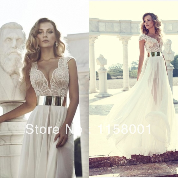 Free Shipping 2014 Deep V Neck Embroidery Beaded Gold Metal Belt Chiffon Side Slit Wedding Dresses Special Occasion Dress-in Wedding Dresses from Apparel & Accessories on Aliexpress.com