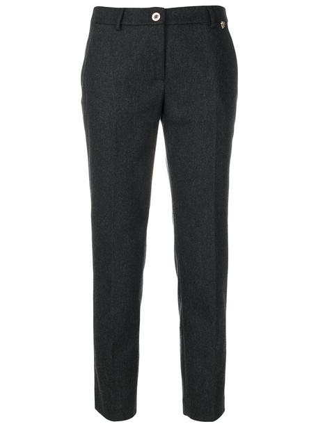 Twin-Set cropped women spandex wool grey pants