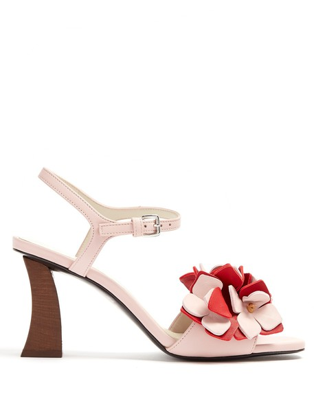 MARNI sandals leather sandals floral leather pink shoes